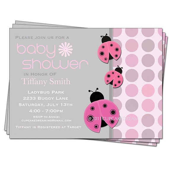 ladybug baby shower girl invitations