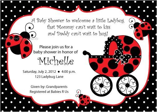 ladybug baby shower invitations