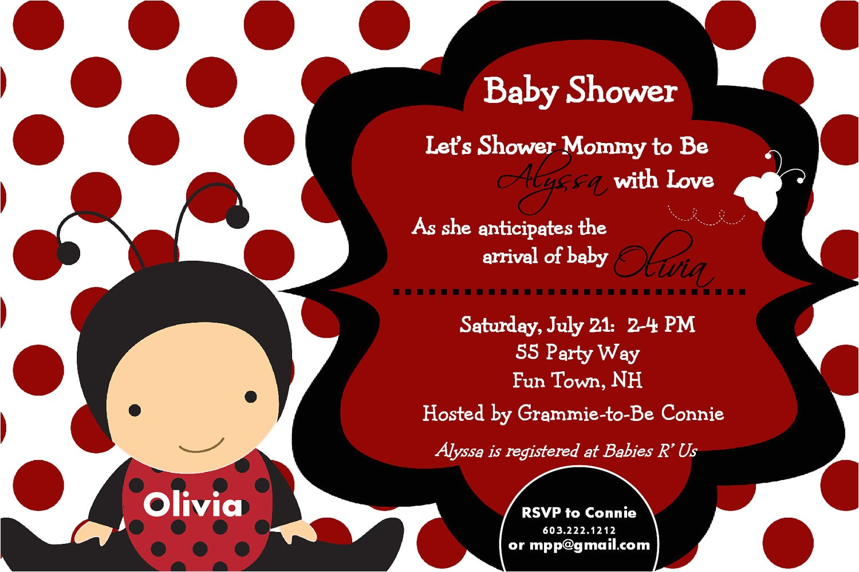 ladybug baby shower invittaions