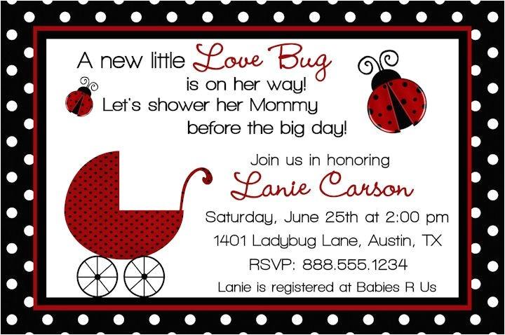 ladybug baby shower invitation wording