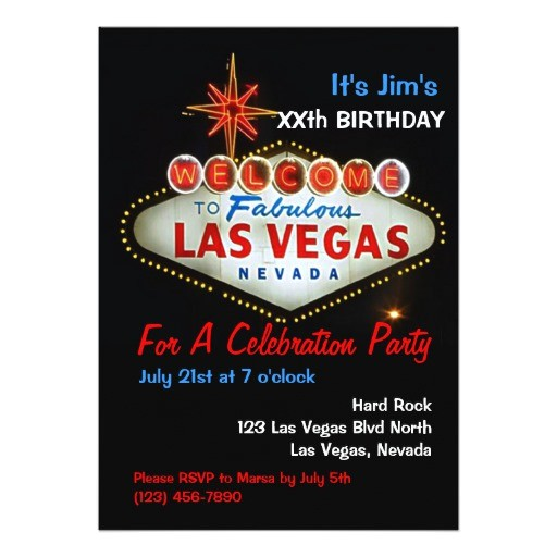 birthday party las vegas party invitations 161692046290873769