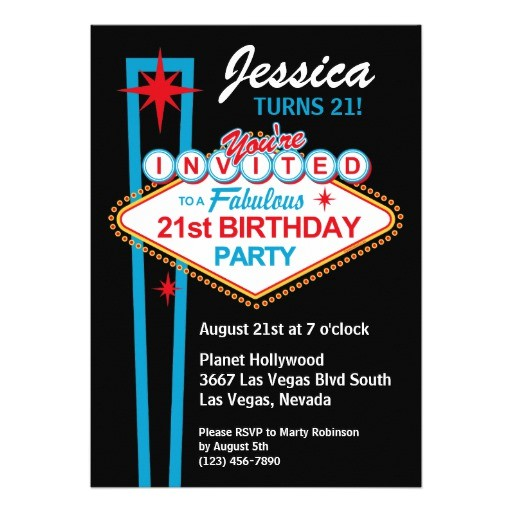 las vegas 21st birthday party invitation 161618373301902353