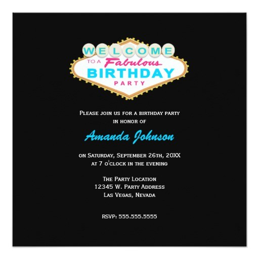las vegas sign birthday party invitation 161500546030525372