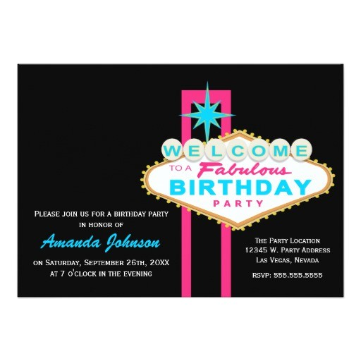 las vegas sign birthday party invitation 161852941727619572