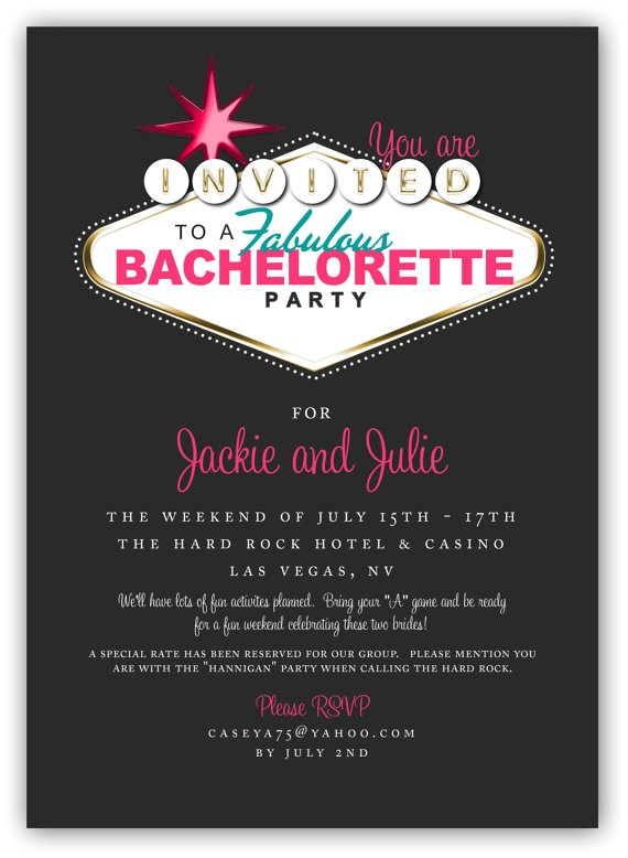 fabulous las vegas themed party invitation 4x6 or 5x7 digital design great for themed bachelorette parties and nights