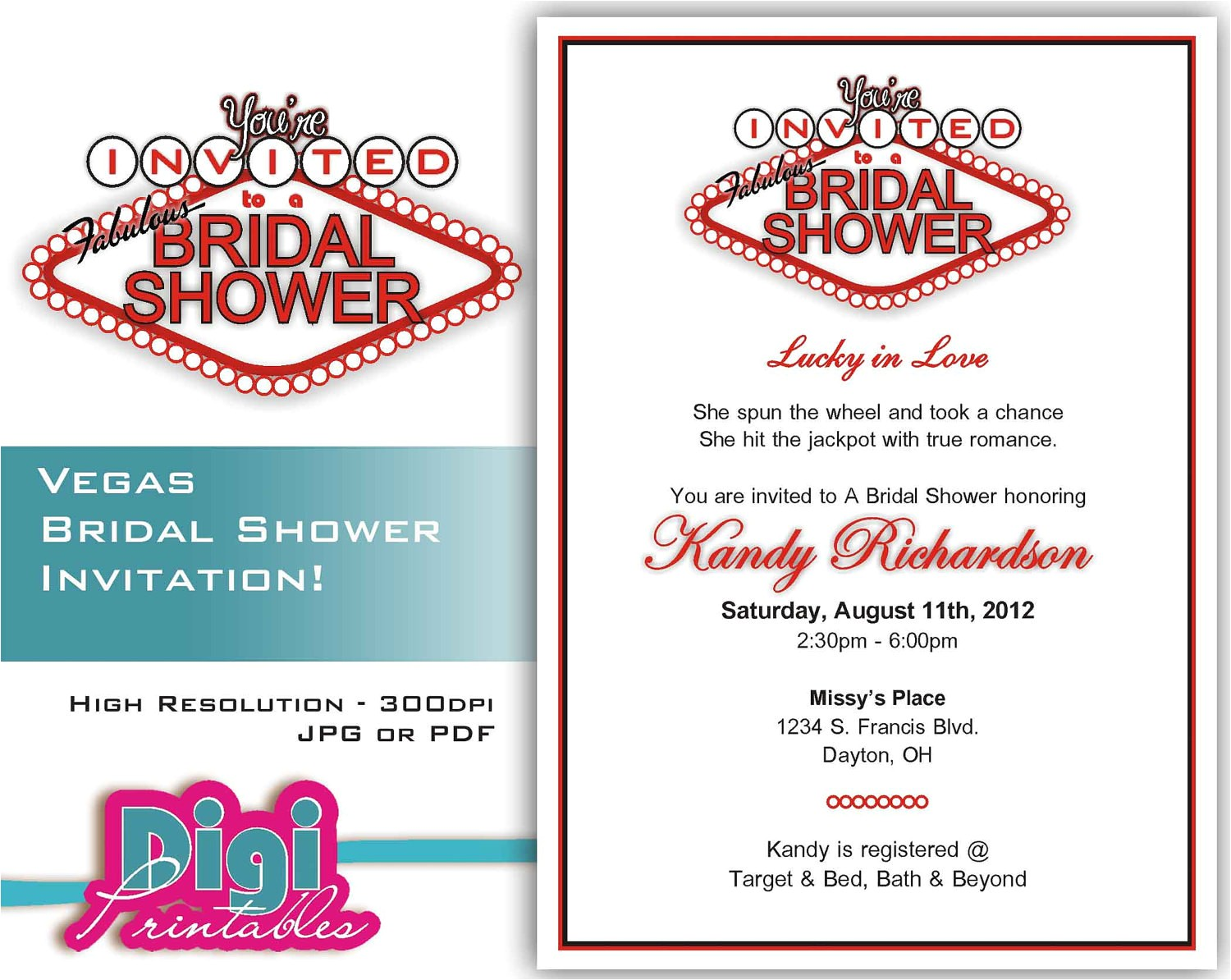 bridal shower invitation las vegas
