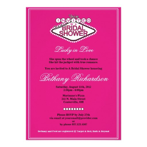 bridal shower invitations vegas theme