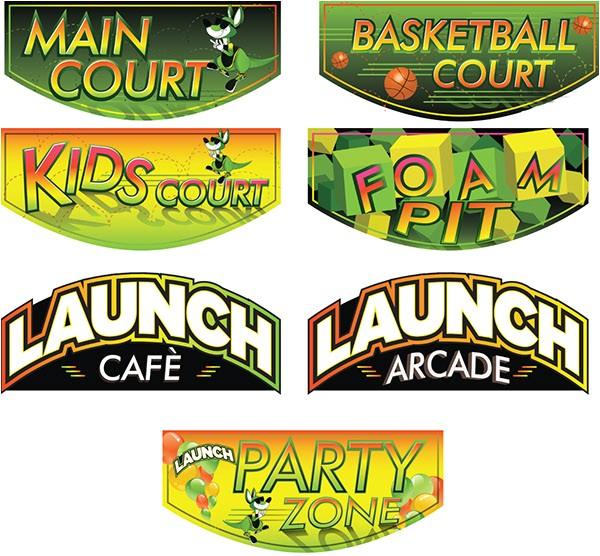Launch Trampoline Park Signage