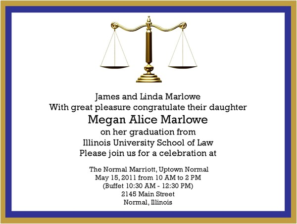Law School Scales of Justice Graduation Invitations