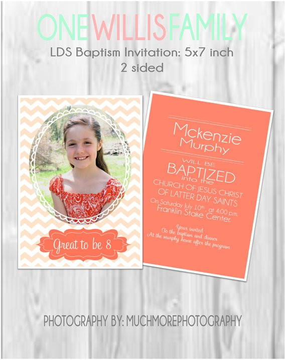 lds baptism invitation two sided 5x7