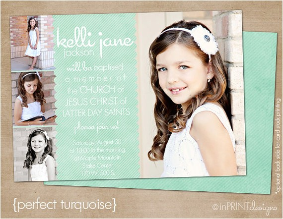 lds baptism photo invitation digital or