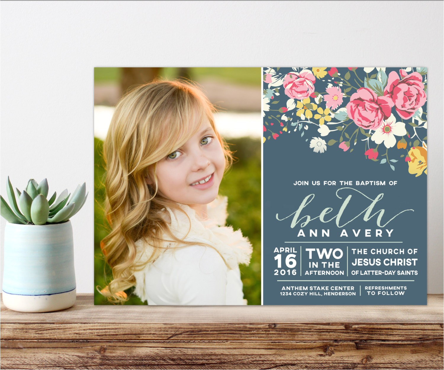 lds baptism invitation girl baptism