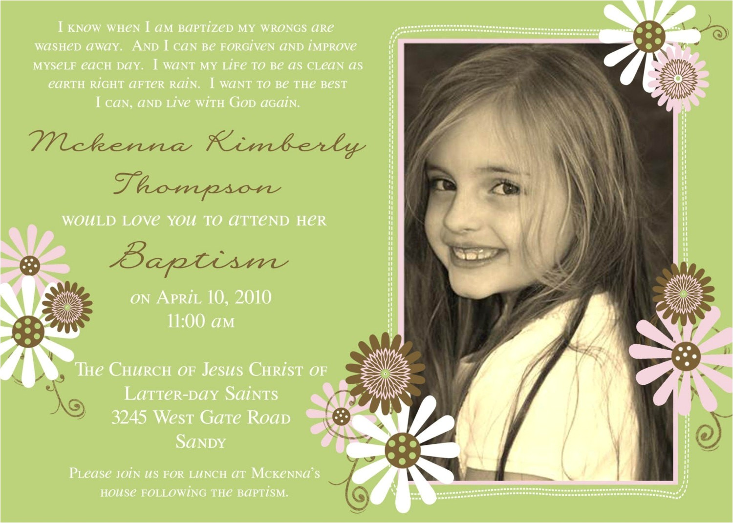 Lds Baptism Invites Lds Baptism Invitation Flowers