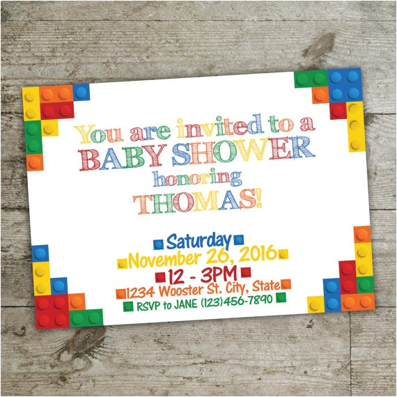 baby shower invitation lego invitation