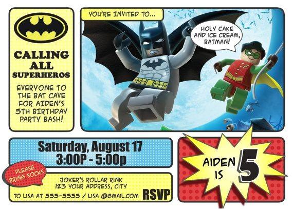 Lego Batman Party Invitations Free Printable Batman Invitations Lego Batman and Robin Invitation