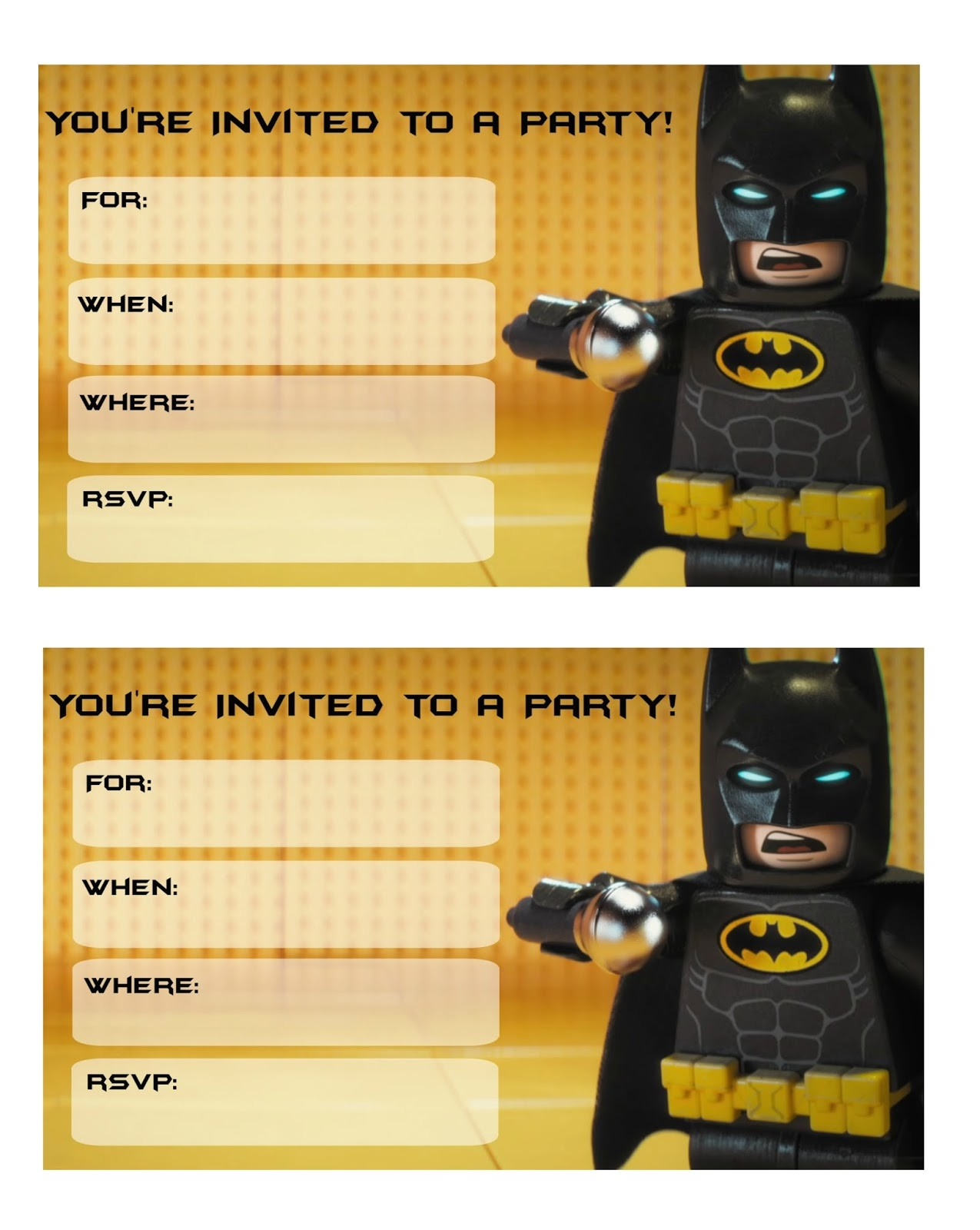 legp batman movie party invitations