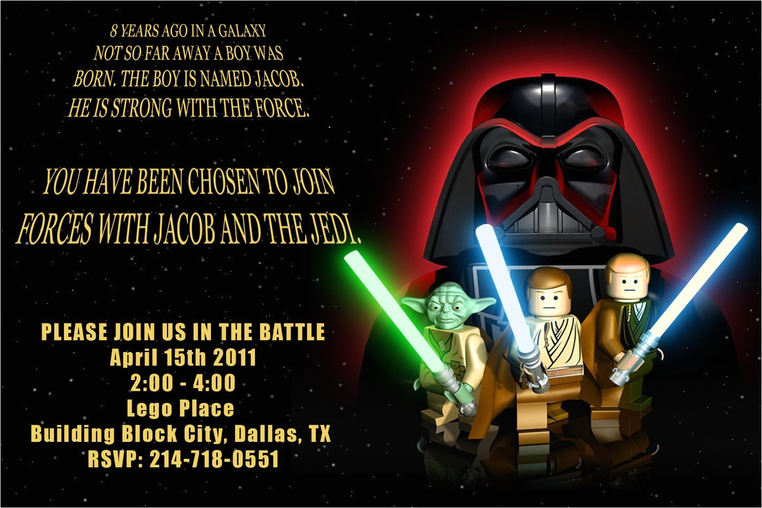 anime and lego star wars party invitations birthday