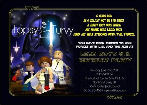 lego star wars birthday party invitation