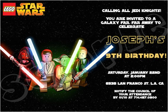 star wars lego birthday invitation