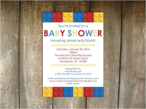 Lego themed Baby Shower Invitations Lego Building Blocks Baby Shower Invitation On Etsy $20