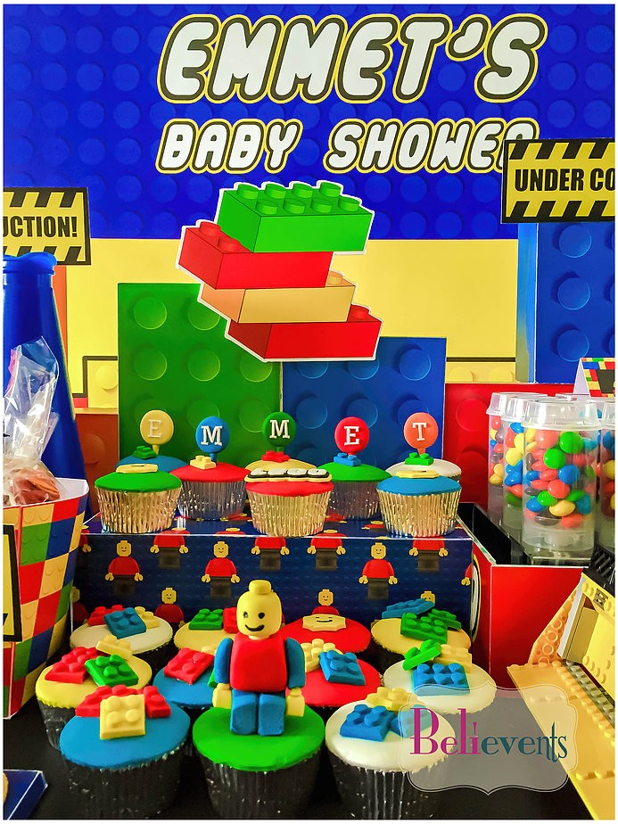 lego construction baby shower