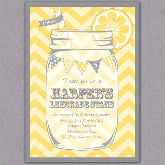 lemonade stand party invitation yellow