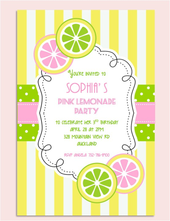 pink lemonade birthday party invitation