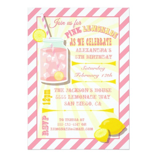pink lemonade birthday party invitations