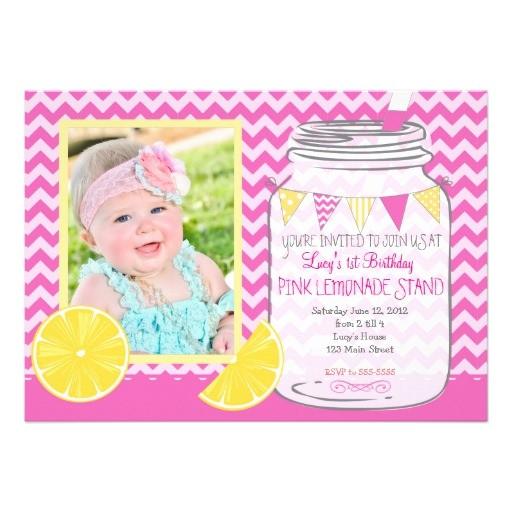 pink lemonade stand first birthday invitation