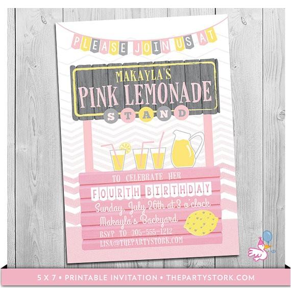 lemonade stand invitation printable girls lemonade