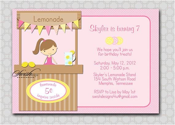 lemonade stand birthday invitation lemon pink