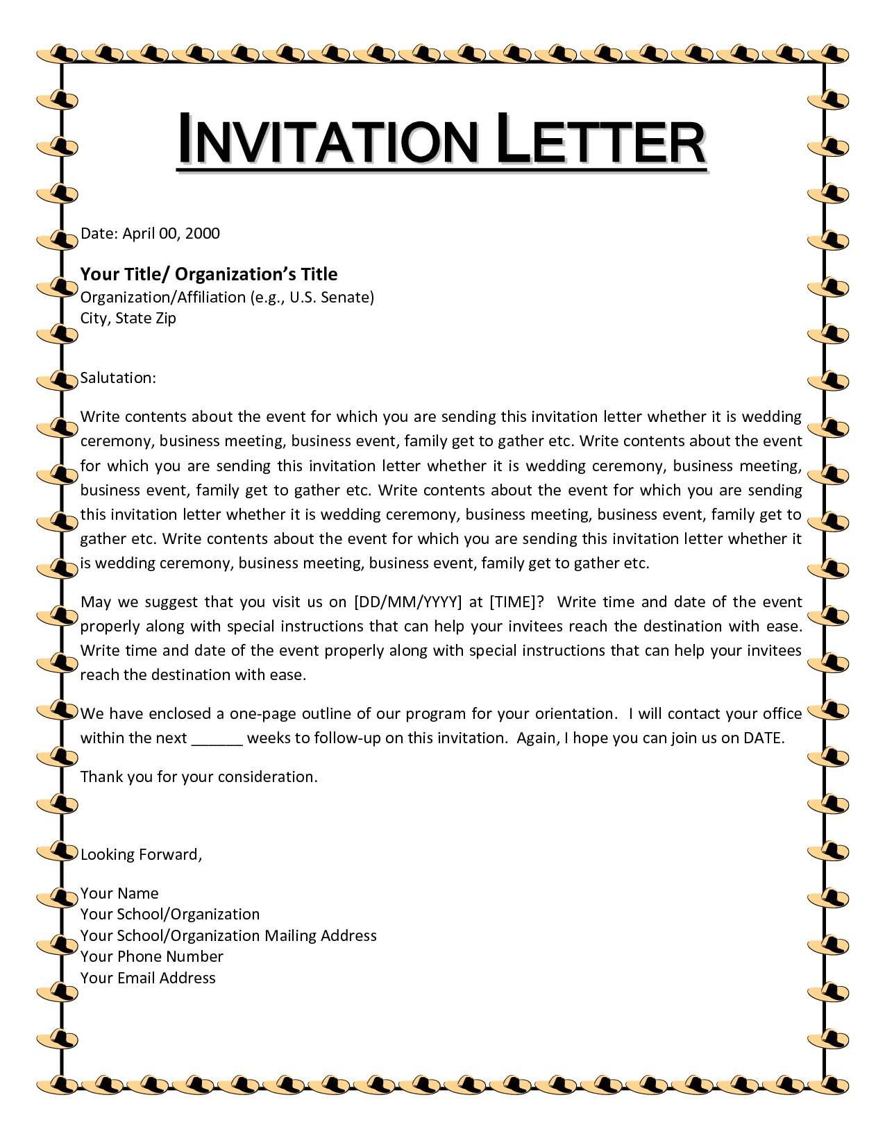 invitation letter event