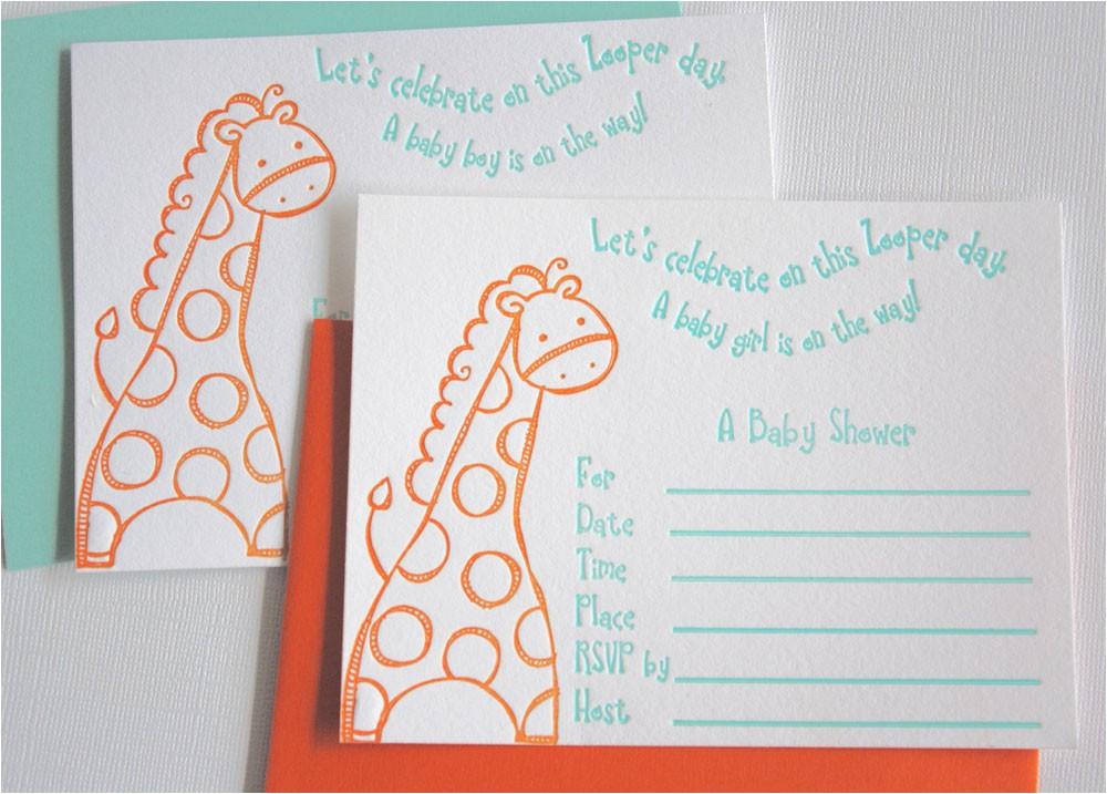 zooper baby shower letterpress