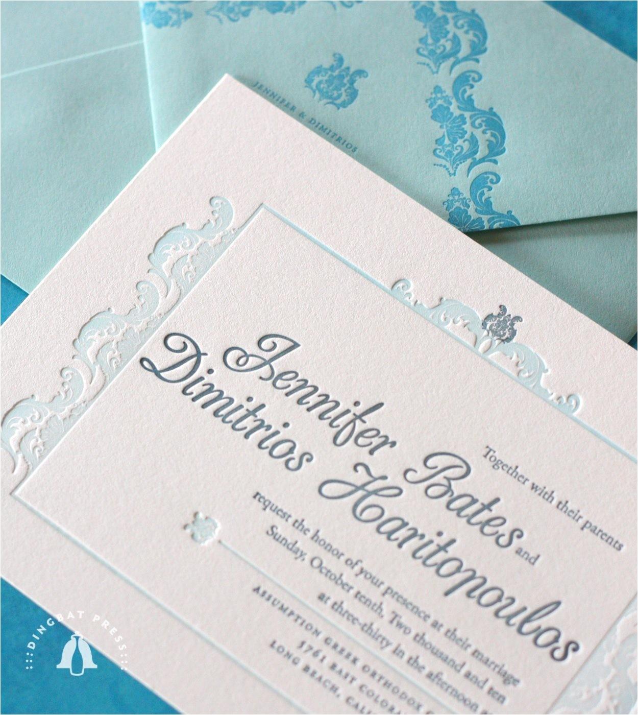 bridal shower invitations letterpress