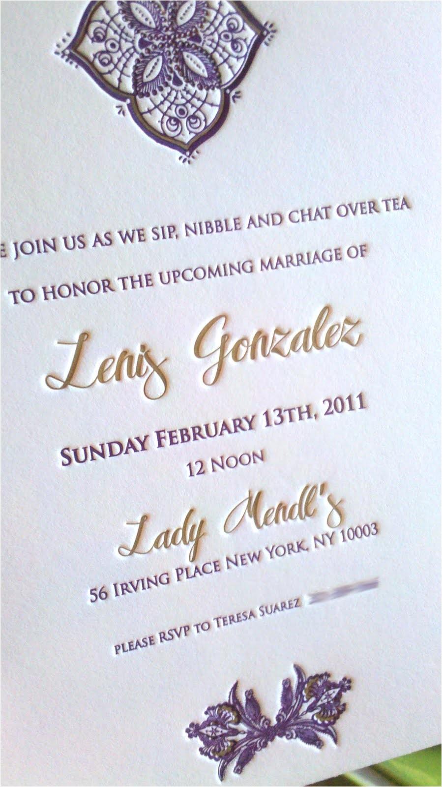 bridal shower invitation letterpress