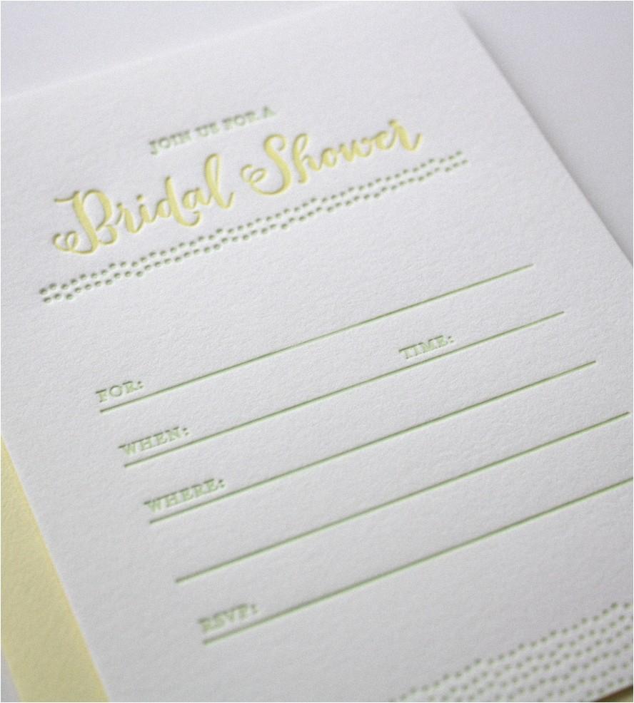 Letterpress Bridal Shower Invitations Letterpress Bridal Shower Invitations