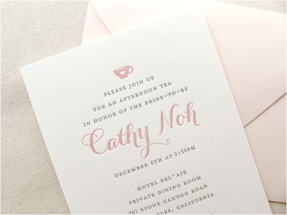 letterpress bridal shower invitations