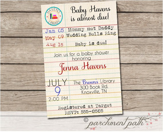 build library baby shower invitation books