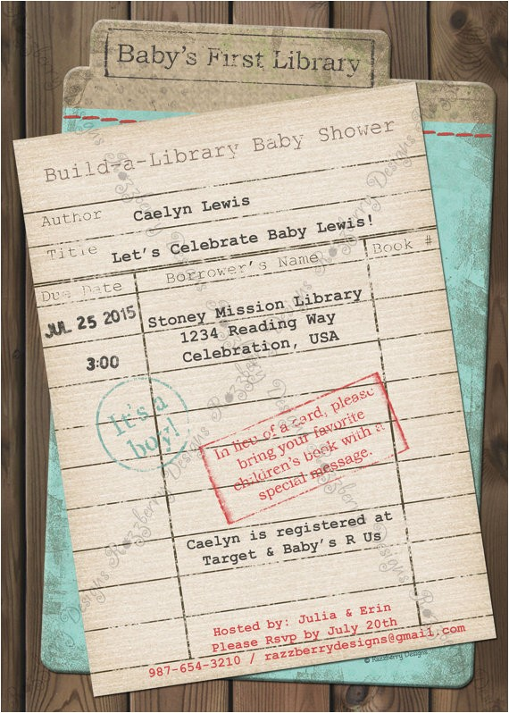 library card baby shower invitation book