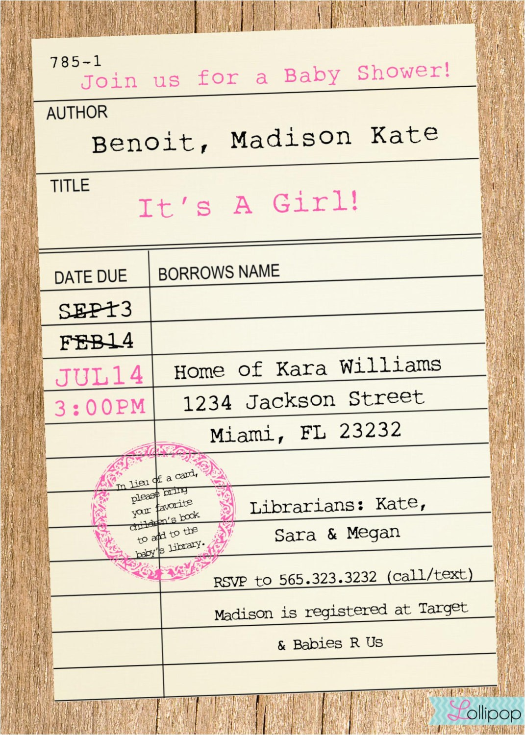 library card styled baby shower