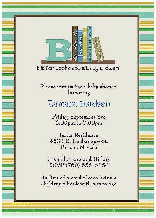 library themed baby shower invitations