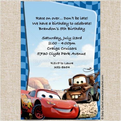 cars lightning mcqueen mater birthday invitations diid0056