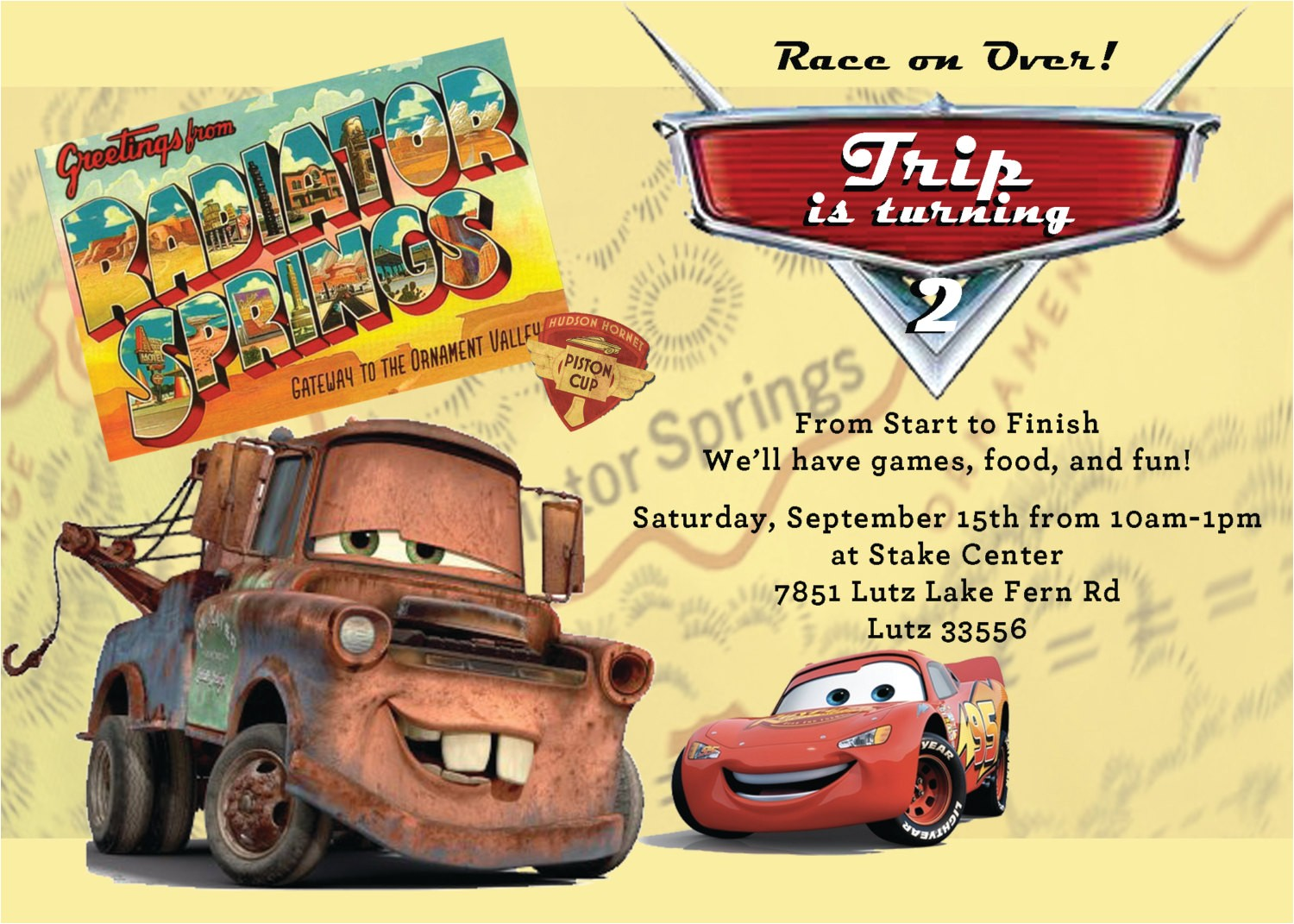 cars party invitation mater and mcqueen