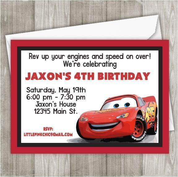 cars lightning mcqueen invitation