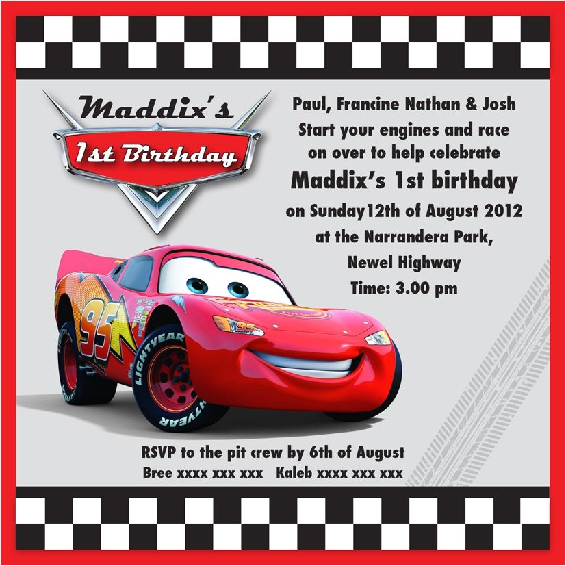 Lightning Mcqueen Birthday Party Invitations Free Lightning Mcqueen Party Invitation Templates