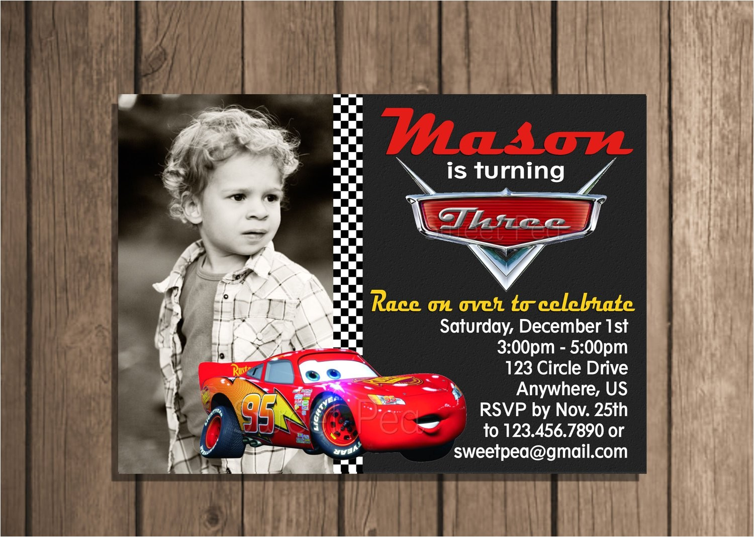 lightning mcqueen invitation card