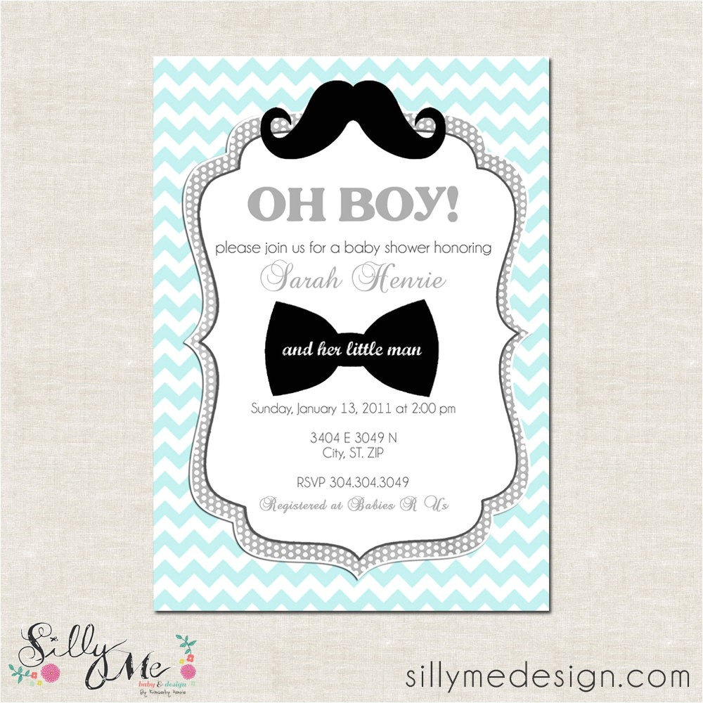 Lil Man Baby Shower Invitations Little Man Custom Baby Shower Invitation Bridal by