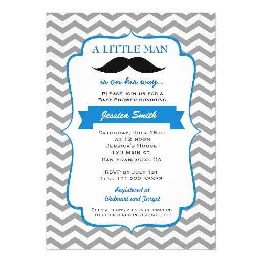 little man mustache baby shower invitation