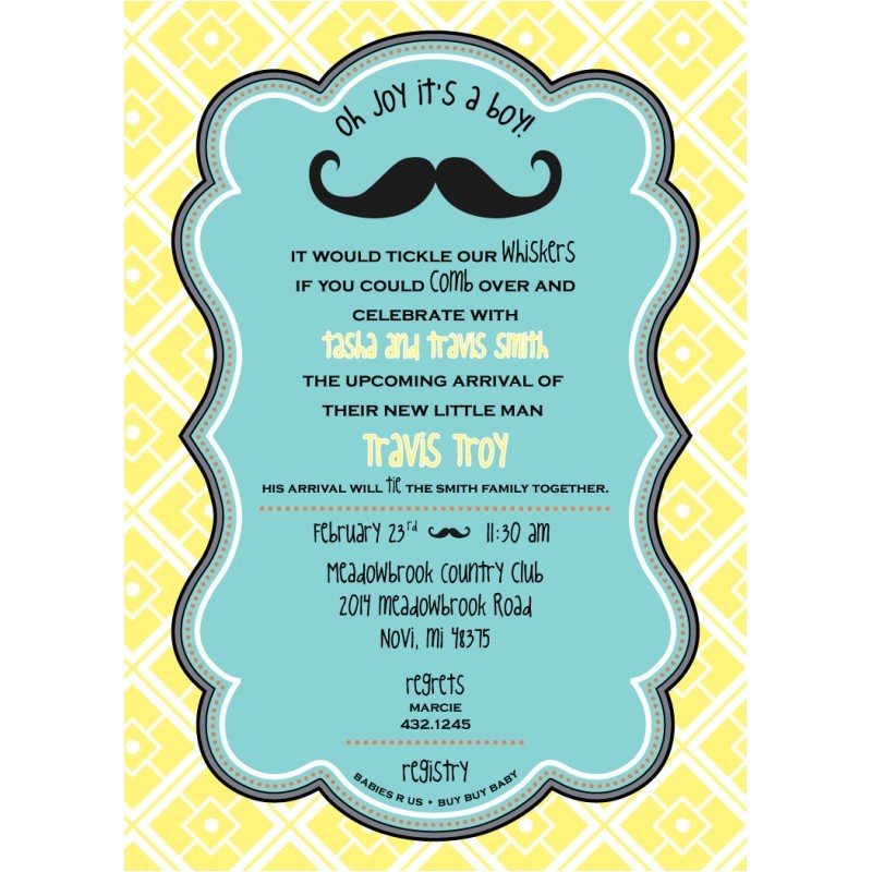 little man baby shower mustache invitation printable