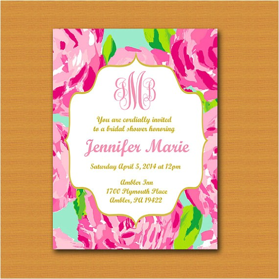 sale lilly pulitzer inspired invitation monogrammed 2